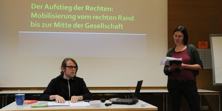 Katharina Ruhland vom Max Mannheimer Studienzentrum und der Referent Sebastian Friedrich